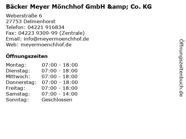 Bäcker Meyer Mönchhof GmbH & Co. KG in Delmenhorst: Adresse und Öffnungszeiten