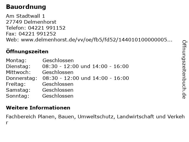 Bauordnung in Delmenhorst: Adresse und Öffnungszeiten