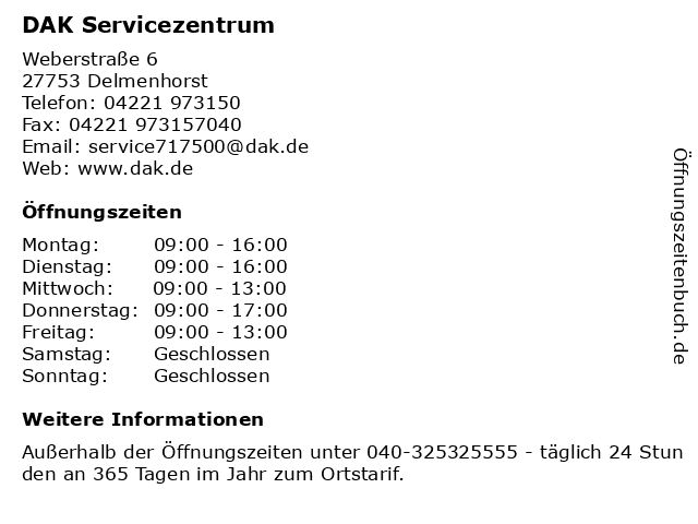 DAK Servicezentrum in Delmenhorst: Adresse und Öffnungszeiten