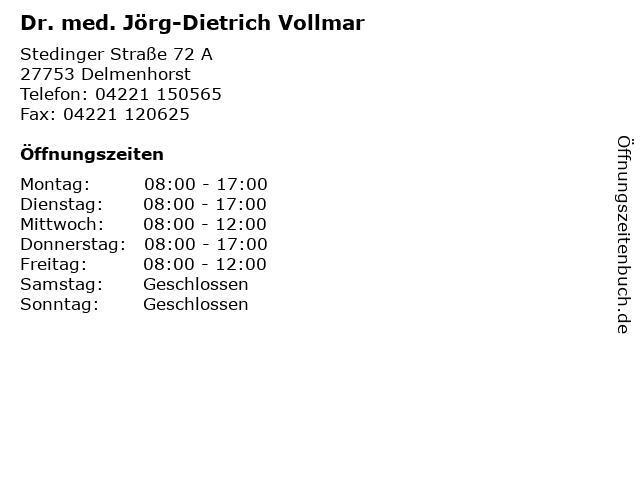 Dr. med. Jörg-Dietrich Vollmar in Delmenhorst: Adresse und Öffnungszeiten