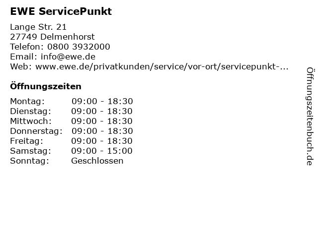 EWE ServicePunkt in Delmenhorst: Adresse und Öffnungszeiten