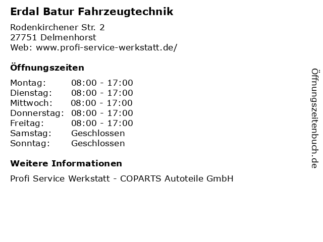 Erdal Batur Fahrzeugtechnik in Delmenhorst: Adresse und Öffnungszeiten