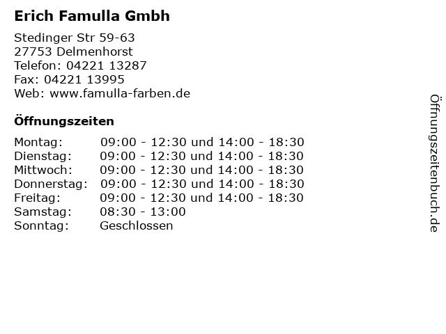 Erich Famulla Gmbh in Delmenhorst: Adresse und Öffnungszeiten