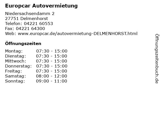 Europcar Autovermietung in Delmenhorst: Adresse und Öffnungszeiten