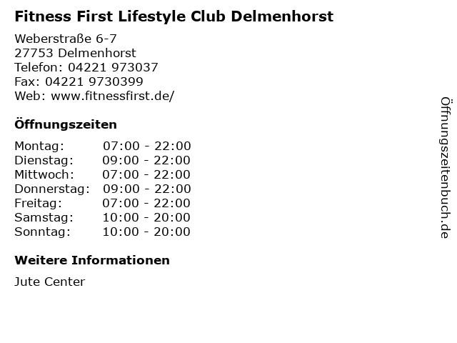 Fitness First Lifestyle Club Delmenhorst in Delmenhorst: Adresse und Öffnungszeiten