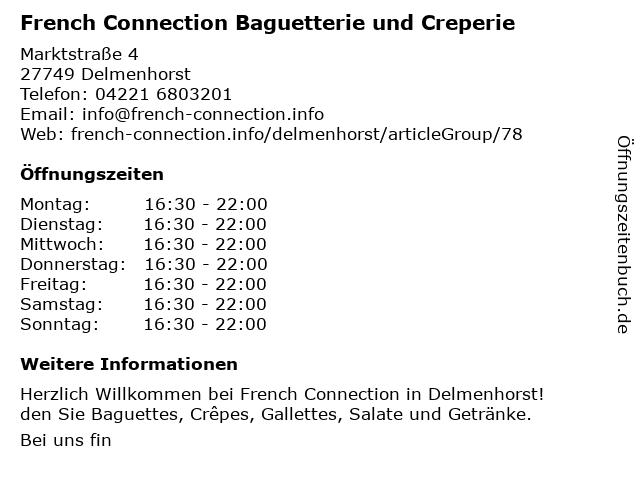 French Connection Baguetterie und Creperie in Delmenhorst: Adresse und Öffnungszeiten