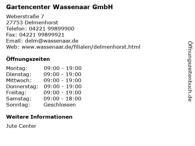 Gartencenter Wassenaar GmbH in Delmenhorst: Adresse und Öffnungszeiten