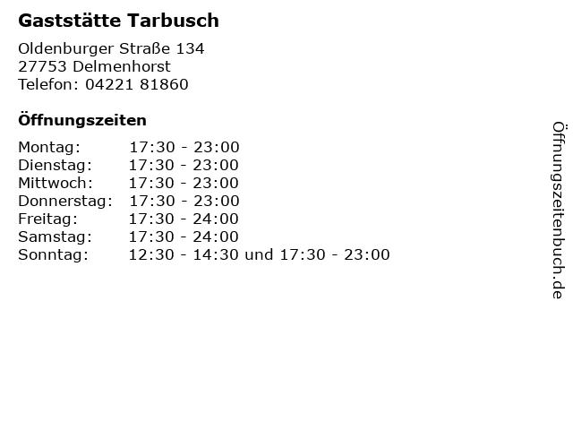 Gaststätte Tarbusch in Delmenhorst: Adresse und Öffnungszeiten