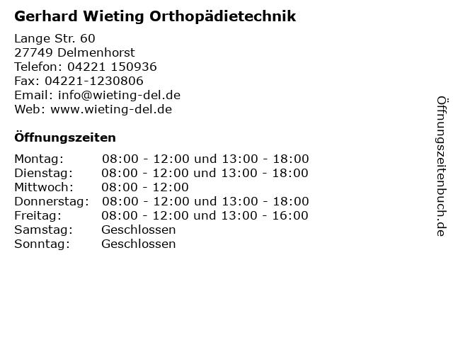 Gerhard Wieting Orthopädietechnik in Delmenhorst: Adresse und Öffnungszeiten