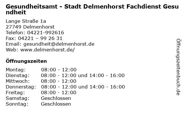 Gesundheitsamt - Stadt Delmenhorst Fachdienst Gesundheit in Delmenhorst: Adresse und Öffnungszeiten