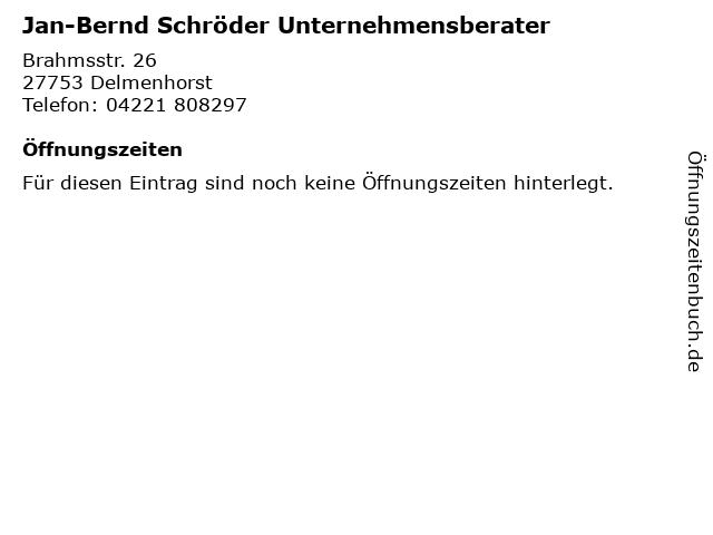 Jan-Bernd Schröder Unternehmensberater in Delmenhorst: Adresse und Öffnungszeiten