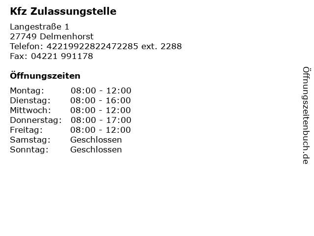 Kfz Zulassungstelle in Delmenhorst: Adresse und Öffnungszeiten