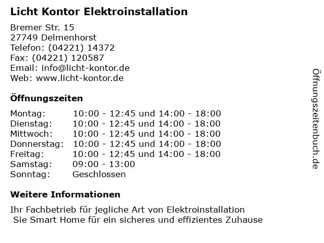 Licht Kontor Elektroinstallation in Delmenhorst: Adresse und Öffnungszeiten