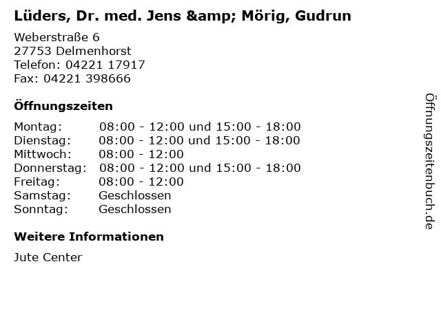 Lüders, Dr. med. Jens & Mörig, Gudrun in Delmenhorst: Adresse und Öffnungszeiten