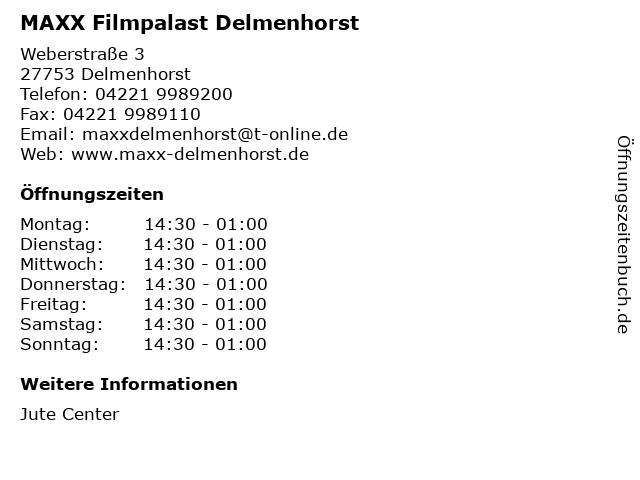 MAXX Filmpalast Delmenhorst in Delmenhorst: Adresse und Öffnungszeiten