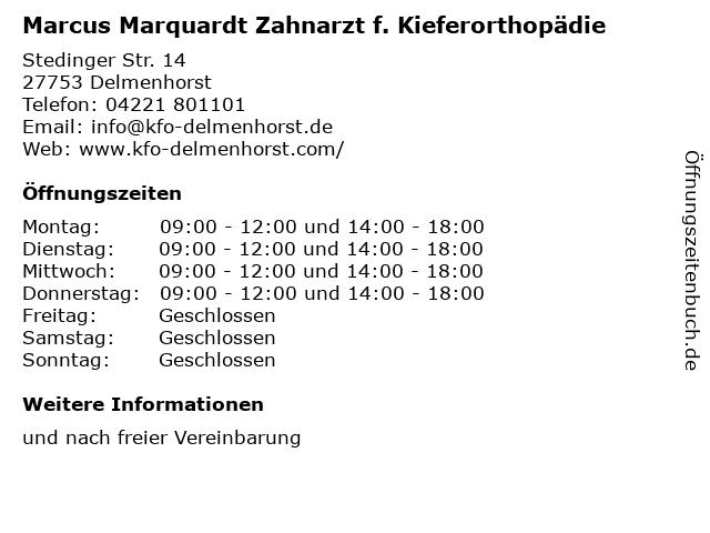 Marcus Marquardt Zahnarzt f. Kieferorthopädie in Delmenhorst: Adresse und Öffnungszeiten