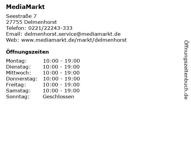 MediaMarkt in Delmenhorst: Adresse und Öffnungszeiten