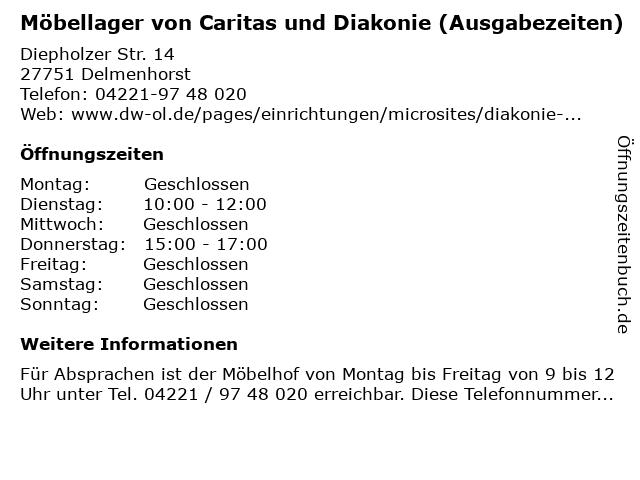 Möbellager von Caritas und Diakonie (Ausgabezeiten) in Delmenhorst: Adresse und Öffnungszeiten
