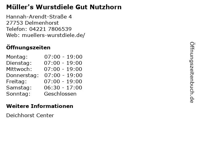 Müller's Wurstdiele Gut Nutzhorn in Delmenhorst: Adresse und Öffnungszeiten