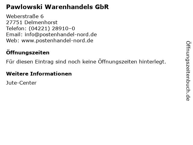 Pawlowski Warenhandels GbR in Delmenhorst: Adresse und Öffnungszeiten