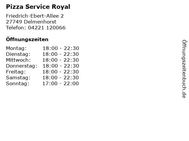 Pizza Service Royal in Delmenhorst: Adresse und Öffnungszeiten