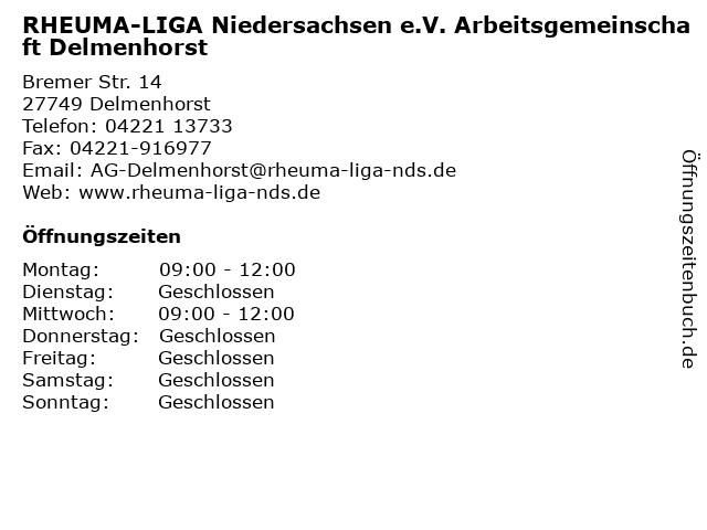 RHEUMA-LIGA Niedersachsen e.V. Arbeitsgemeinschaft Delmenhorst in Delmenhorst: Adresse und Öffnungszeiten