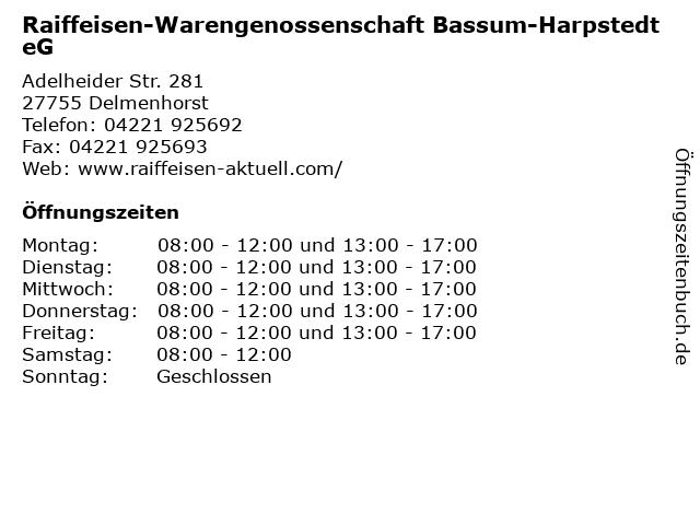 Raiffeisen-Warengenossenschaft Bassum-Harpstedt eG in Delmenhorst: Adresse und Öffnungszeiten