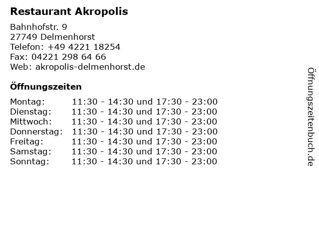Restaurant Akropolis in Delmenhorst: Adresse und Öffnungszeiten