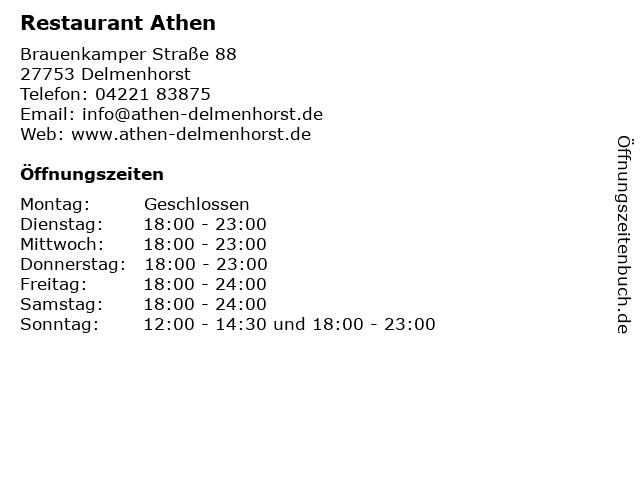Restaurant Athen in Delmenhorst: Adresse und Öffnungszeiten