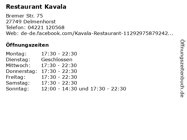 Restaurant Kavala in Delmenhorst: Adresse und Öffnungszeiten