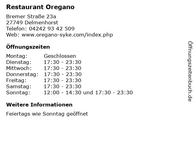 Restaurant Oregano in Delmenhorst: Adresse und Öffnungszeiten