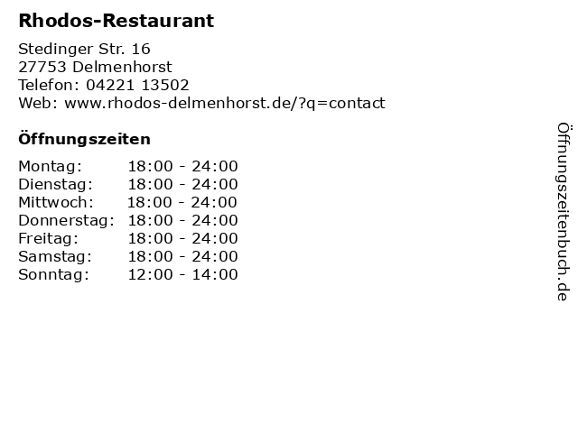 Rhodos-Restaurant in Delmenhorst: Adresse und Öffnungszeiten