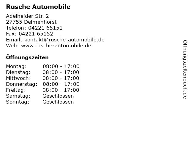 Rusche Automobile in Delmenhorst: Adresse und Öffnungszeiten