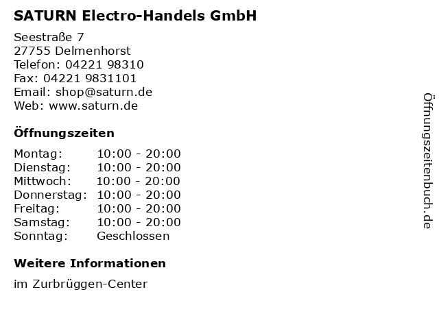 SATURN Electro-Handels GmbH in Delmenhorst: Adresse und Öffnungszeiten