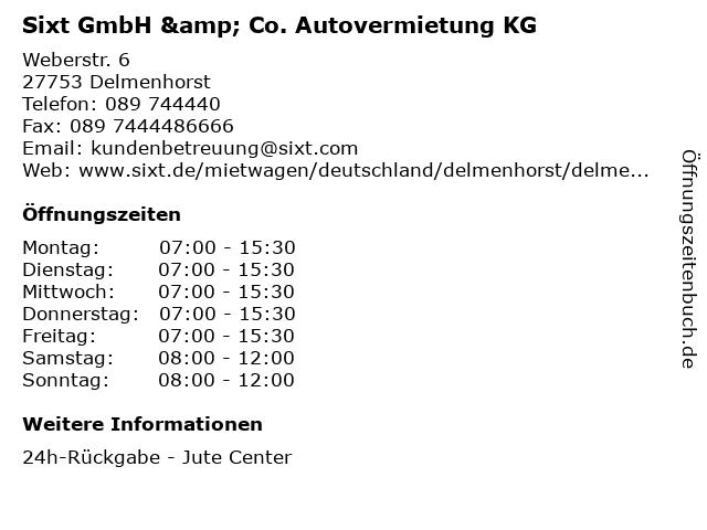 Sixt GmbH & Co. Autovermietung KG in Delmenhorst: Adresse und Öffnungszeiten