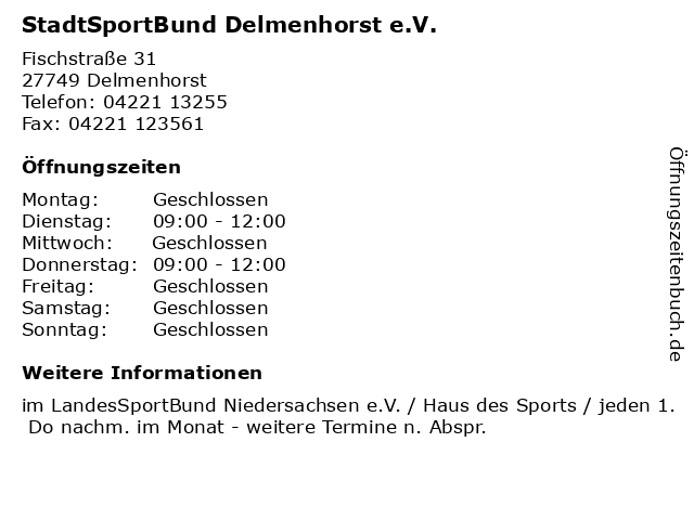StadtSportBund Delmenhorst e.V. in Delmenhorst: Adresse und Öffnungszeiten