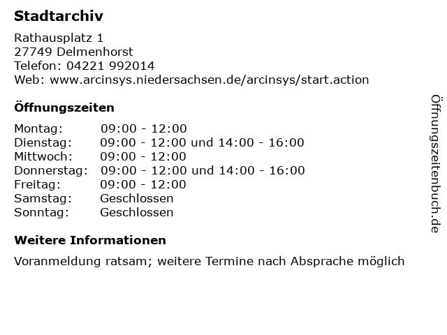 Stadtarchiv in Delmenhorst: Adresse und Öffnungszeiten
