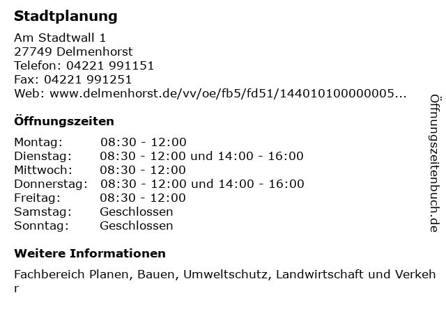 Stadtplanung in Delmenhorst: Adresse und Öffnungszeiten