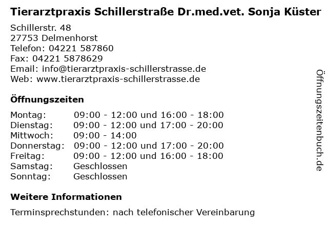 Tierarztpraxis Schillerstraße Dr.med.vet. Sonja Küster in Delmenhorst: Adresse und Öffnungszeiten