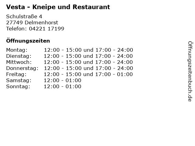 Vesta - Kneipe und Restaurant in Delmenhorst: Adresse und Öffnungszeiten