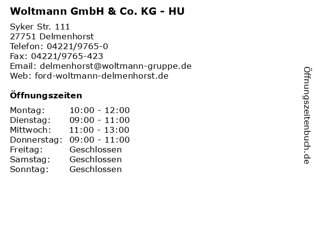 Woltmann GmbH & Co. KG - HU in Delmenhorst: Adresse und Öffnungszeiten