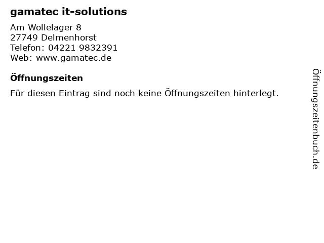 gamatec it-solutions in Delmenhorst: Adresse und Öffnungszeiten