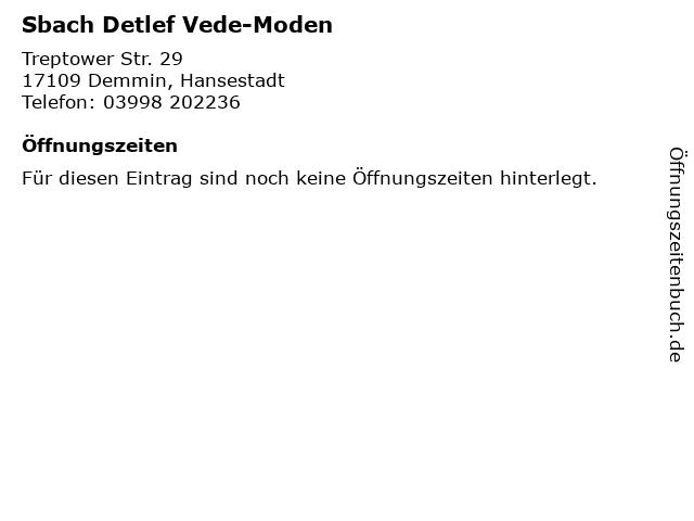 Sbach Detlef Vede-Moden in Demmin, Hansestadt: Adresse und Öffnungszeiten