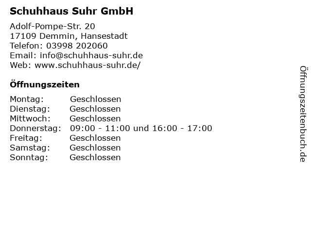 Schuhhaus Suhr GmbH in Demmin, Hansestadt: Adresse und Öffnungszeiten