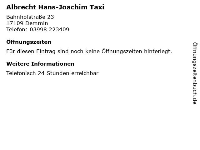 Albrecht Hans-Joachim Taxi in Demmin: Adresse und Öffnungszeiten