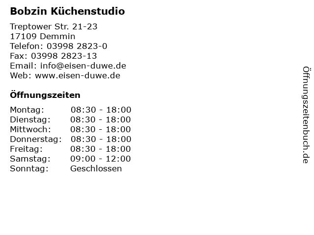 Bobzin Küchenstudio in Demmin: Adresse und Öffnungszeiten