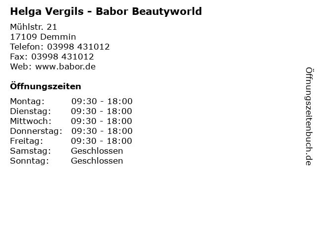 Helga Vergils - Babor Beautyworld in Demmin: Adresse und Öffnungszeiten