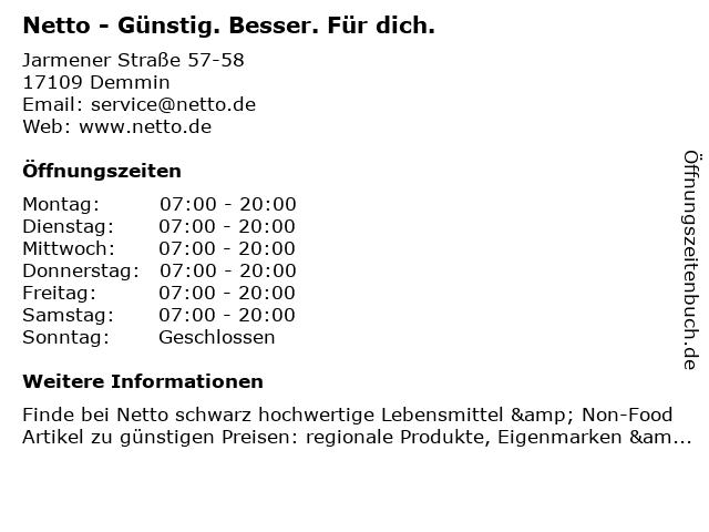 Netto Deutschland - schwarz-gelber Discounter mit dem Scottie in Demmin: Adresse und Öffnungszeiten