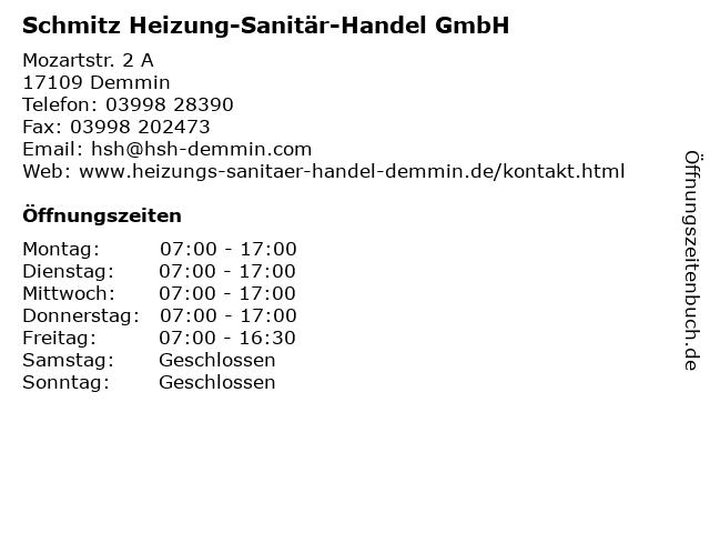 Schmitz Heizung-Sanitär-Handel GmbH in Demmin: Adresse und Öffnungszeiten