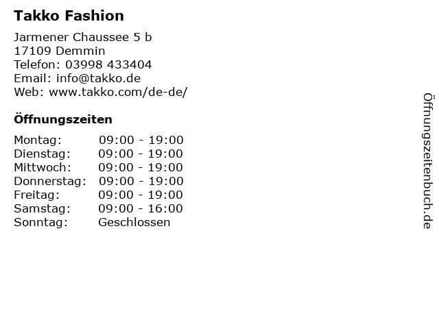 Takko Fashion in Demmin: Adresse und Öffnungszeiten